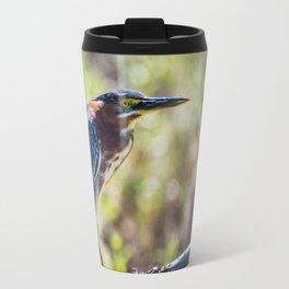 Colorful Green Heron Perched Travel Mug