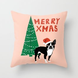 Boston Terrier Xmas - christmas tree holiday pet dog lover gift with boston terrier cute santa hat  Throw Pillow