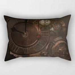 Brown steampunk clocks and gears Rectangular Pillow