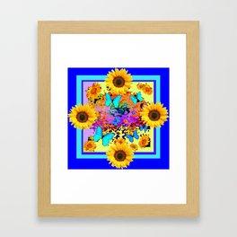 Blue Design Sunflower Butterflies Dream Framed Art Print