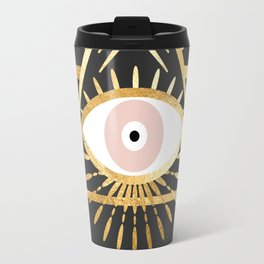 gold foil triangle evil eye Travel Mug