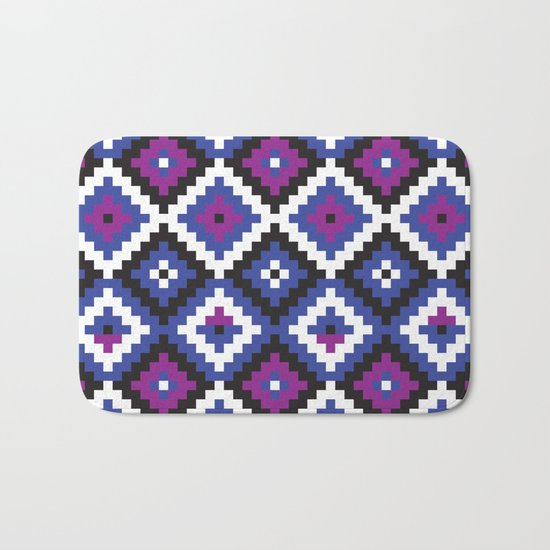 Aztec pattern - blue, purple, black, white Bath Mat