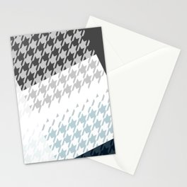 Modern Houndstooth Reinterpreted A – Navy / Gray / White Checked Pattern Stationery Cards