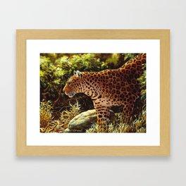 African Leopard Prowling Through The Jungle Framed Art Print