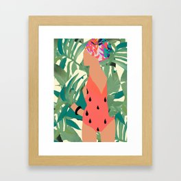 Jungle Pop! Pacific Melon Textile Collage Framed Art Print