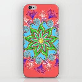 Vibrant Vermillion Mandala iPhone Skin
