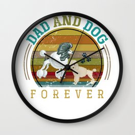 Cute Dad And Poodle Dog Wall Clock