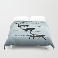 marx Duvet Covers featuring Black cat crossing, v.2 by IvaW
