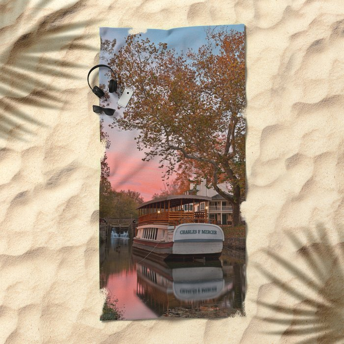 Autumn Twilight Canal Beach Towel