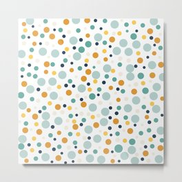 Polka Dots in Teal, Rustic Sage and Golden Yellow Metal Print