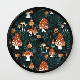 Mushroom Forest Gnomes Wall Clock