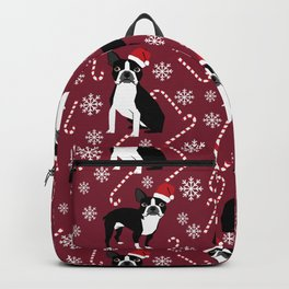 Boston Terrier santa hats candy canes and snowflakes dog pattern gifts by pet friendly Backpack