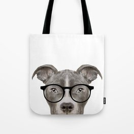 Pit bull with glasses Dog illustration original painting print Tote Bag