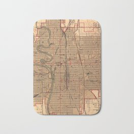 Vintage Map of Wichita Kansas (1943) Bath Mat