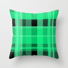 Shades of Green and Black Plaid Throw Pillow