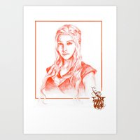 mother of dragons Art Prints featuring Mother of dragons by Cassie's Wonderland