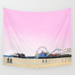 Santa Monica Pier with Ferries Wheel and Roller Coaster Against a Pink Sky Wall Tapestry