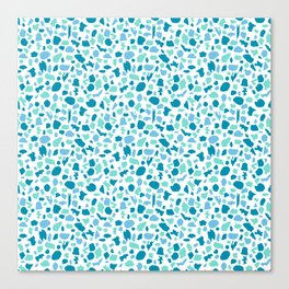Terrazzo in Peacock Blue, Mint on White Canvas Print
