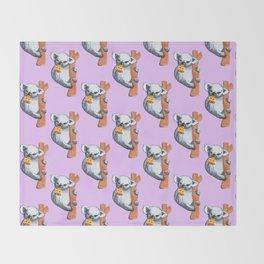 koala eating pizza pattern Throw Blanket