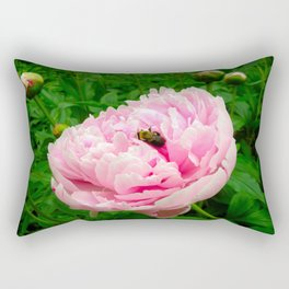 Bumble Bee on a Pink Peony Rectangular Pillow