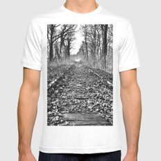 tracks in the forest MEDIUM Mens Fitted Tee White