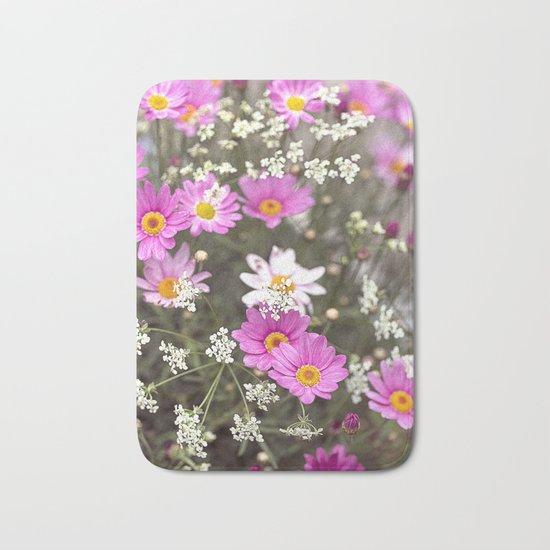 Pink Daisy Wildflower Summer Meadow Bath Mat