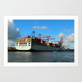 Cosco Cotainer Ship Art Print