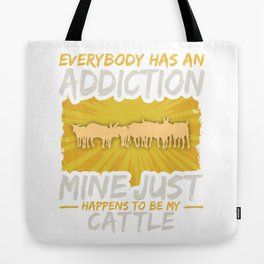 Cattle Addiction Funny Farm Animal Lover Tote Bag
