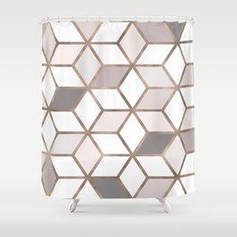 Golden Cubes I Shower Curtain