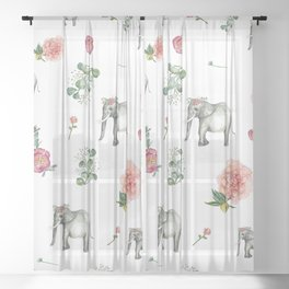 Ellie the Elephant and her flower crown Sheer Curtain