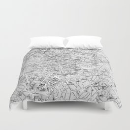 Vintage Map of Brussels (1905) BW Duvet Cover