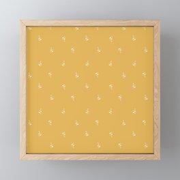 Minimal leaves in yellow Framed Mini Art Print