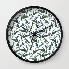 Classy stylish elegant timeless dark floral seamless patter. Botanical theme. Green and blue leaves. Wall Clock
