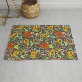 autumn floral tapestry Rug