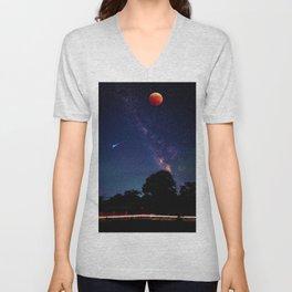 Blood Moon & Galaxy (Color) Unisex V-Neck