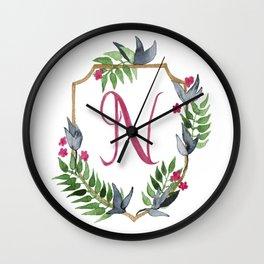 Jungle Gold Monogram Crest N Wall Clock