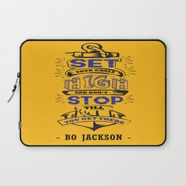 Set your goals high Bo Jackson Inspirational Sports Typographic Quote Art Laptop Sleeve