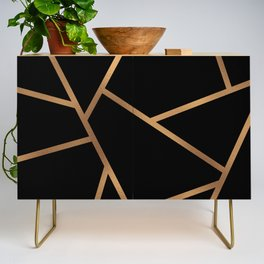 Black and Gold Fragments - Geometric Design Credenza