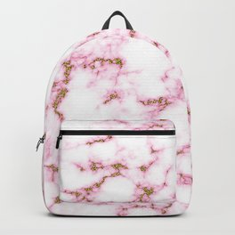 Pink marble abstract pattern with gold glitter Backpack