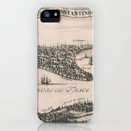 Vintage Pictorial Map of Constantinople (1696) iPhone Case