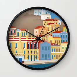 Symi, Colorful facades at the port (GR) Wall Clock
