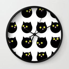 Whimsical Black Cats Naive Pattern Wall Clock