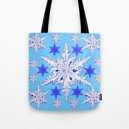BABY BLUE SNOW CRYSTALS BLUE WINTER ART DESIGN Tote Bag