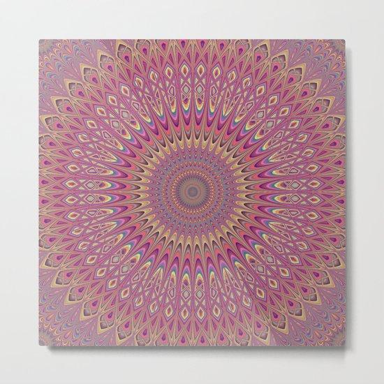 Hippie grid mandala Metal Print