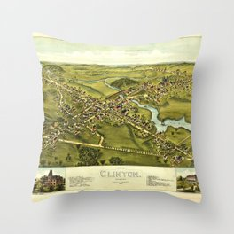 Aerial View of Clinton, Connecticut (1881) Throw Pillow