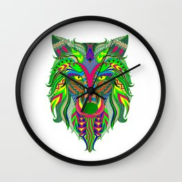 Vibrant Color Wolf Head Wall Clock