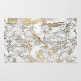 Modern chic faux gold white elegant marble Rug