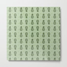 Pineapple Pattern - Greens Metal Print