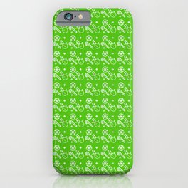 Green Christmas Wrapping Paper Pattern iPhone Case