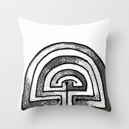 Labyrinthine life monochrome Throw Pillow